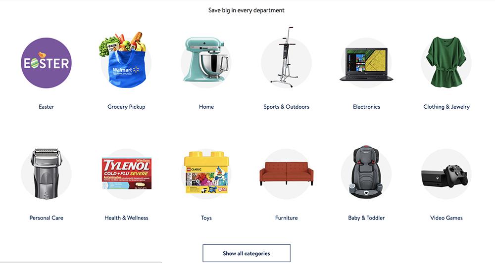 4 Walmart 2 categories